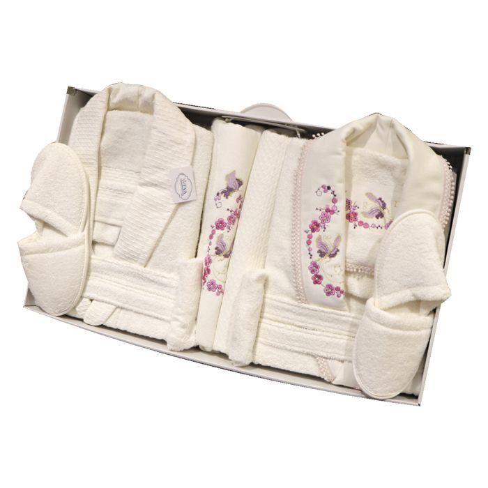 Weva Butterfly Couple Bathrobe 10pcs set Free Size Cream