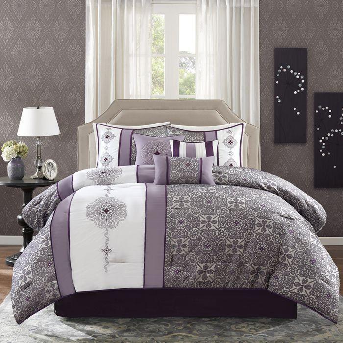 Nova Madisson park-Donovan Comforter Set 8 Pcs king Purple Terra