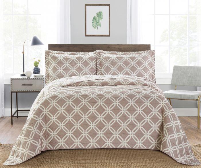 Nova Diagonal Jacquard Bedspread Set Beige