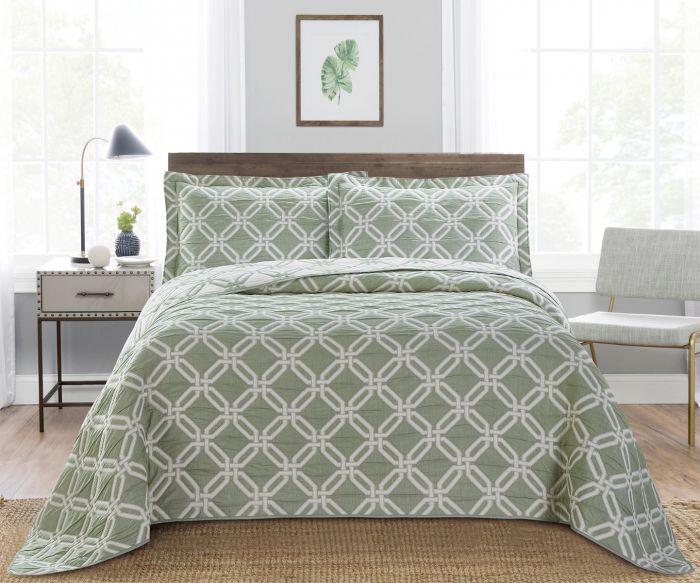 Nova Diagonal Jacquard Bedspread Set Green