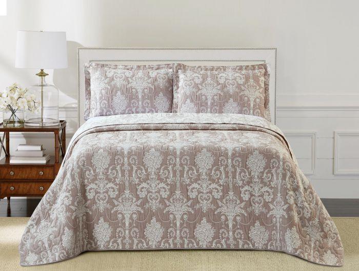 Nova Samantha Jacquard Bedspread Set Taupe