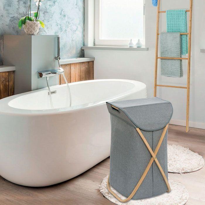 Wenko Bahari Wood Laundry Basket Grey