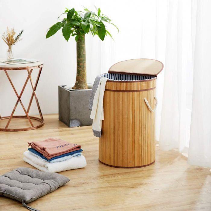 Nova Lorin Round Foldable Laundry Basket Beige