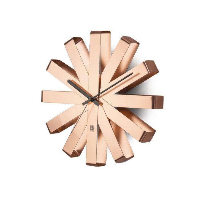 Umbra Ribbon Wall Clock 4x6 Copper