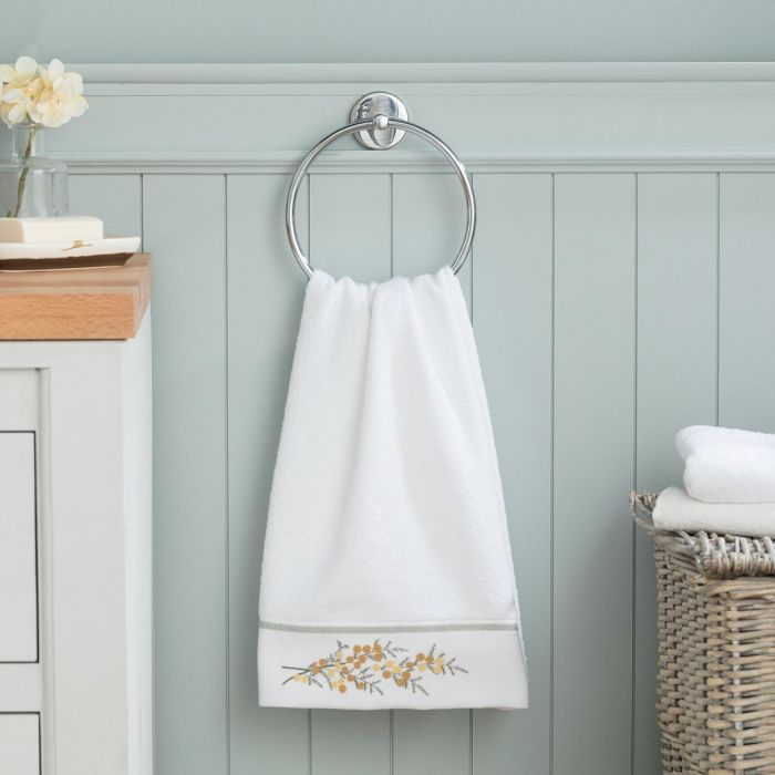 Madame Coco Pansy Embroidered Face Towel