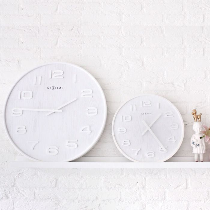 Nextime Wood Wall Clock Wood L 4x6 White