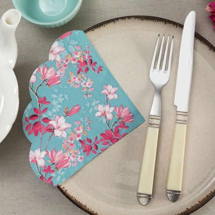 Madame Coco Pink Floral Pattern Napkin - Round