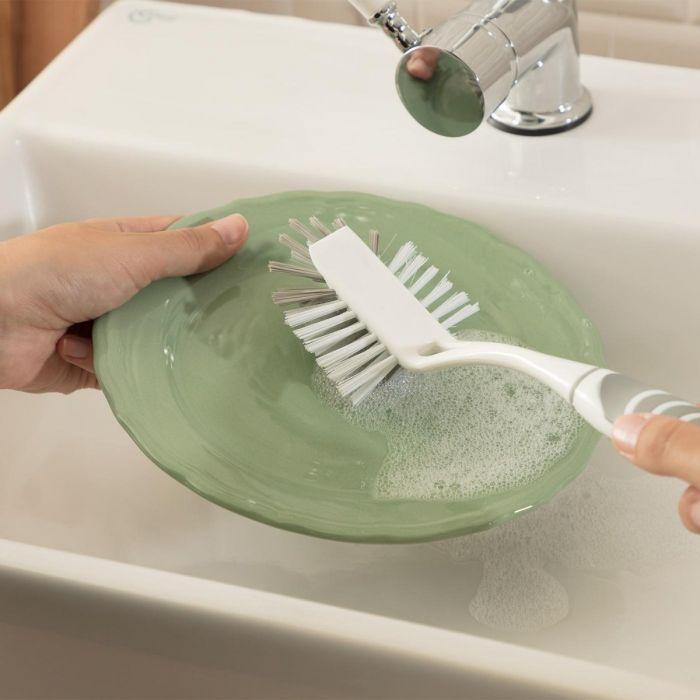 Madame Coco Graque Dish Brush - White / Grey