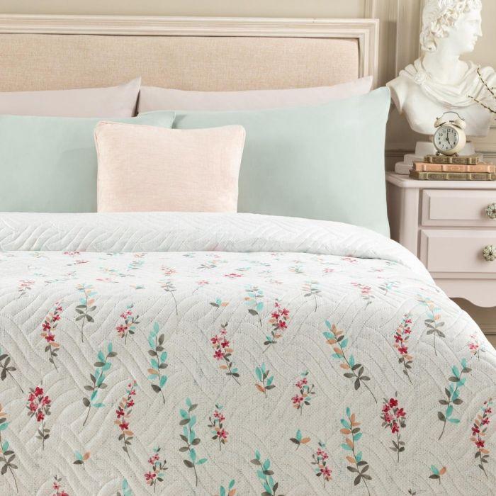 Madame Coco Zoe Printed Single Bedspread - White / Gray