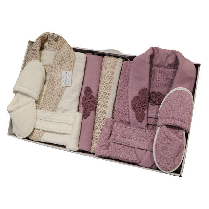 Weva Croche Couple Bathrobe 10pcs set Free Size Lilac