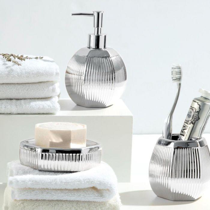 Madame Coco Bonar 3 Piece Bath Set - Silver