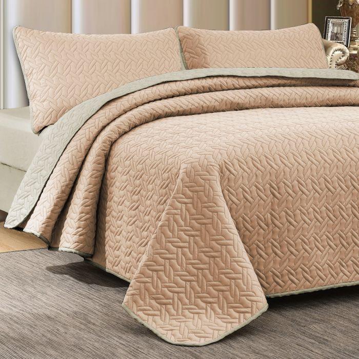Nova Cross Double Face Bedspread Set Rose/Ivory