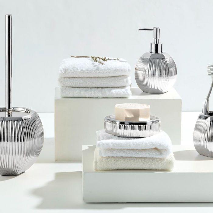 Madame Coco Bonar 4 Piece Bath Set - Silver