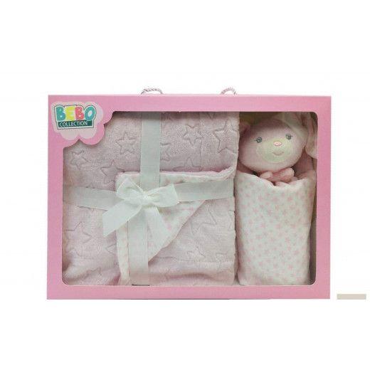 NOVA Doudou W/Blanket Bear 75x100CM Pink