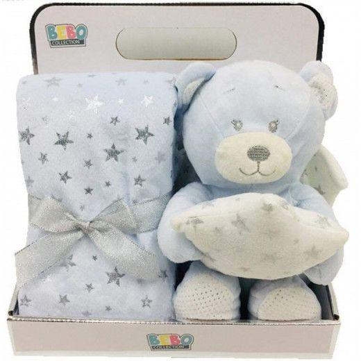 NOVA Toy W Blanket Bear 75x75CM Blue