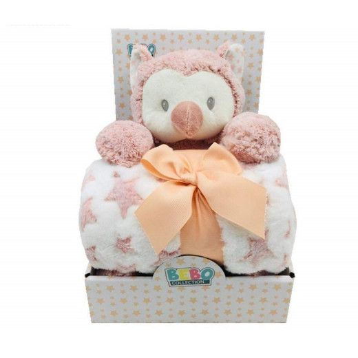 NOVA Toy W/ Blanket Owl 75x100CM Pink