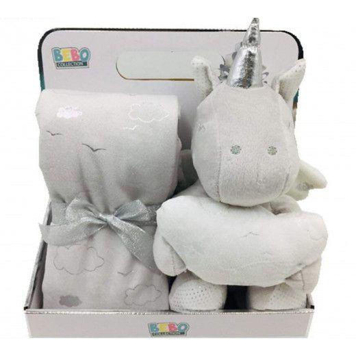 NOVA Toy W/ Blanket Unicorn 75x75CM Grey