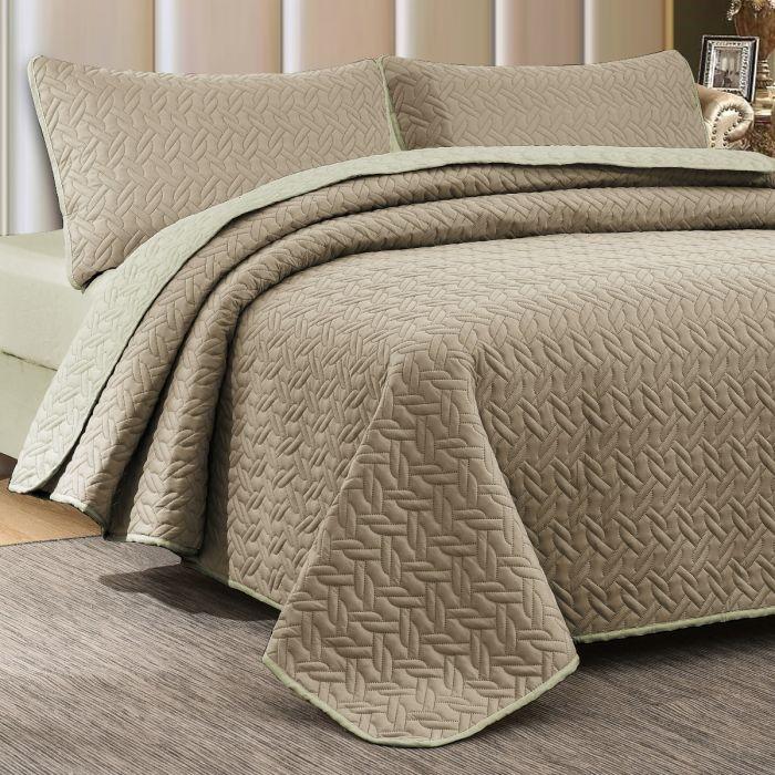 Nova Cross Double Face Bedspread Set Taupe/Ivory