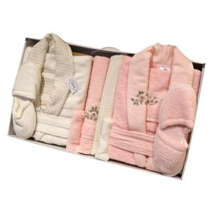 Weva Luzmont Couple Bathrobe 10pcs set Free Size Pink