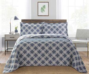 Nova Diagonal Jacquard Bedspread Set Blue