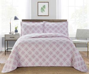 Nova Diagonal Jacquard Bedspread Set Pink