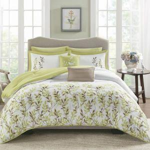 Nova Chantel Comforter Set Embroidered Green
