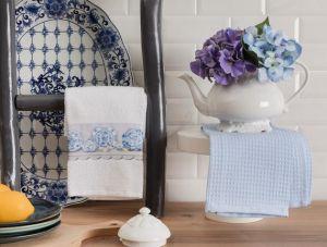 Madame coco Aimee Kitchen Towel Set - White / Blue