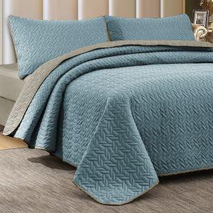 Nova Cross Double Face Bedspread Set Blue/Silver