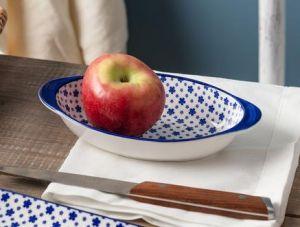 Rêve Bleu Petite Fleur Oval Plate with Handle