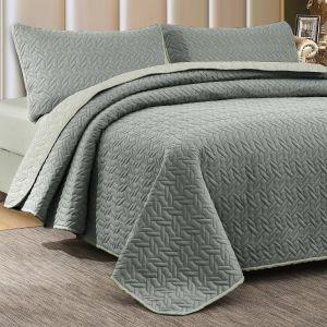 Nova Cross Double Face Bedspread Set Grey/Silver