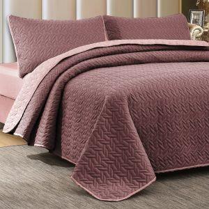 Nova Cross Double Face Bedspread Set Purple/Lilac