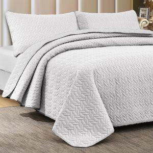 Nova Cross Double Face Bedspread Set White/White